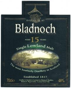 Etikett, Bladnoch 15 YO