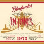 Etiketten från Glenfarclas In Flames 1973 (189 flaskor från fat nummer 2578)